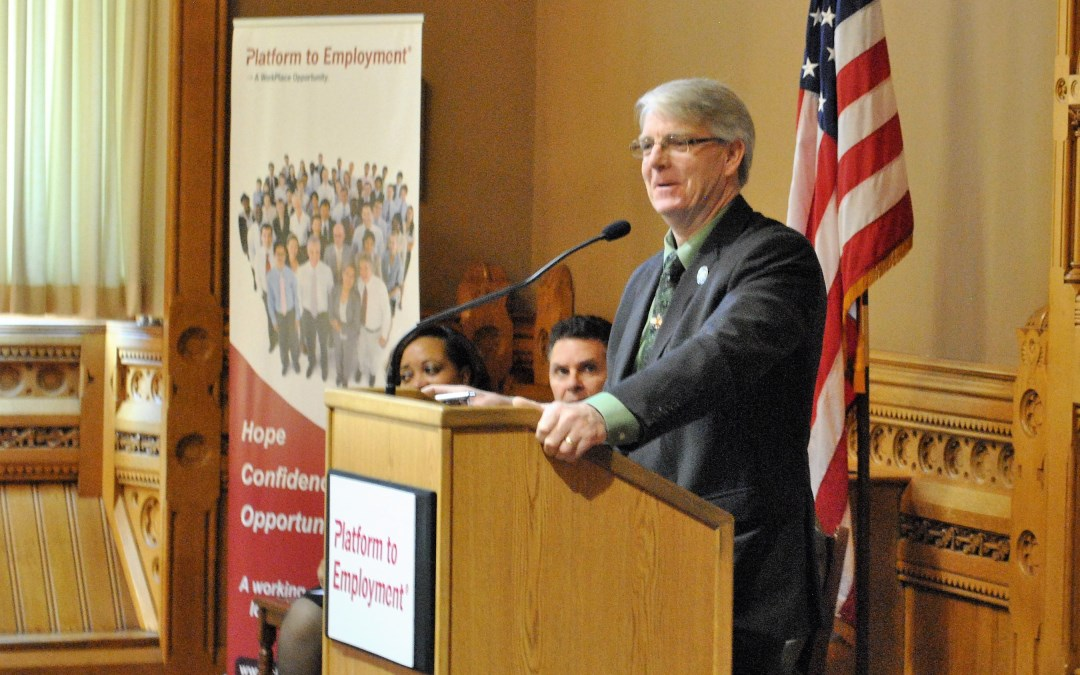 State Rep. Ackert Watches Platform to Employment Students Come Full Circle
